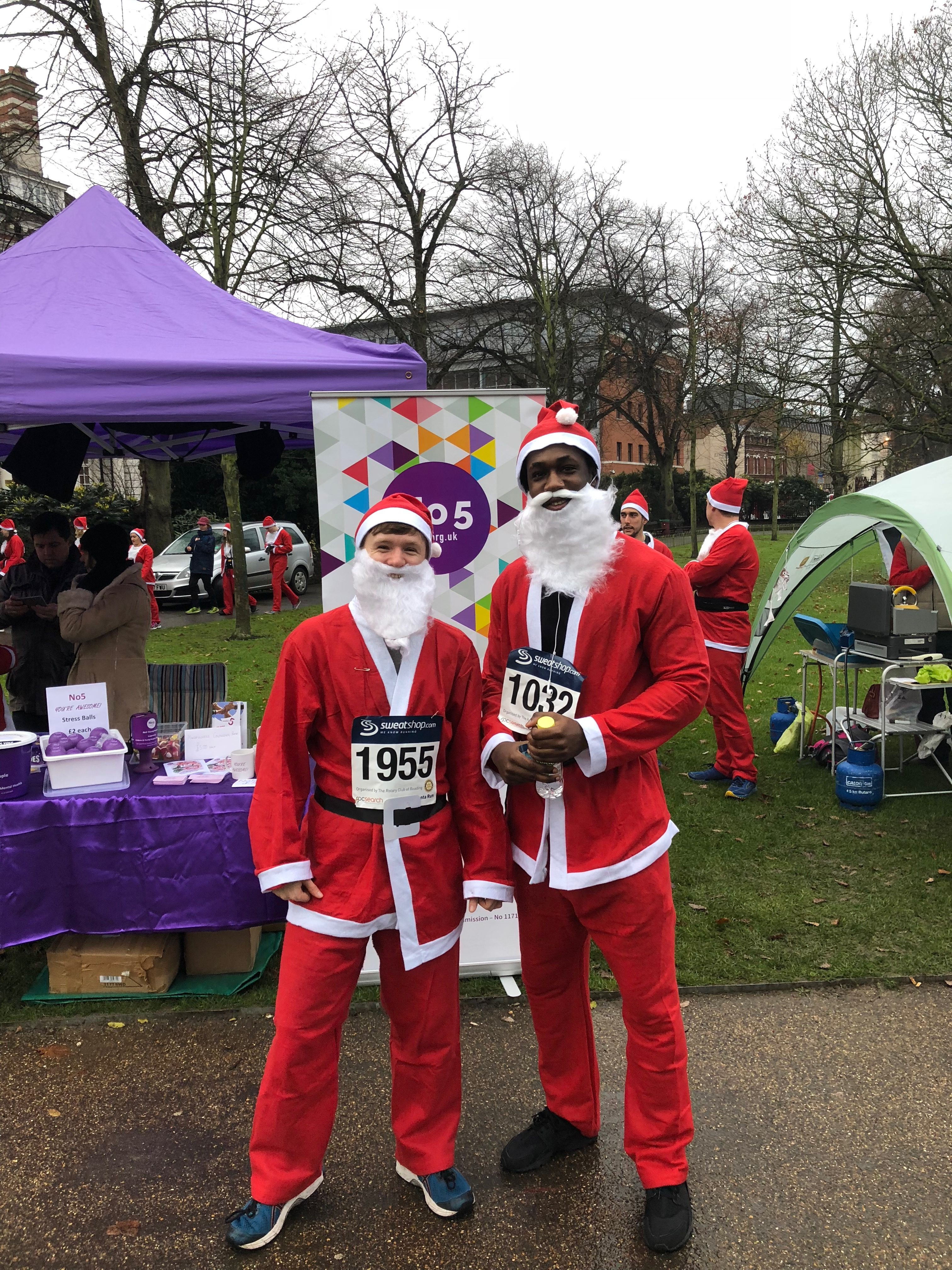 Mark and Dan after running a Santa run for No5