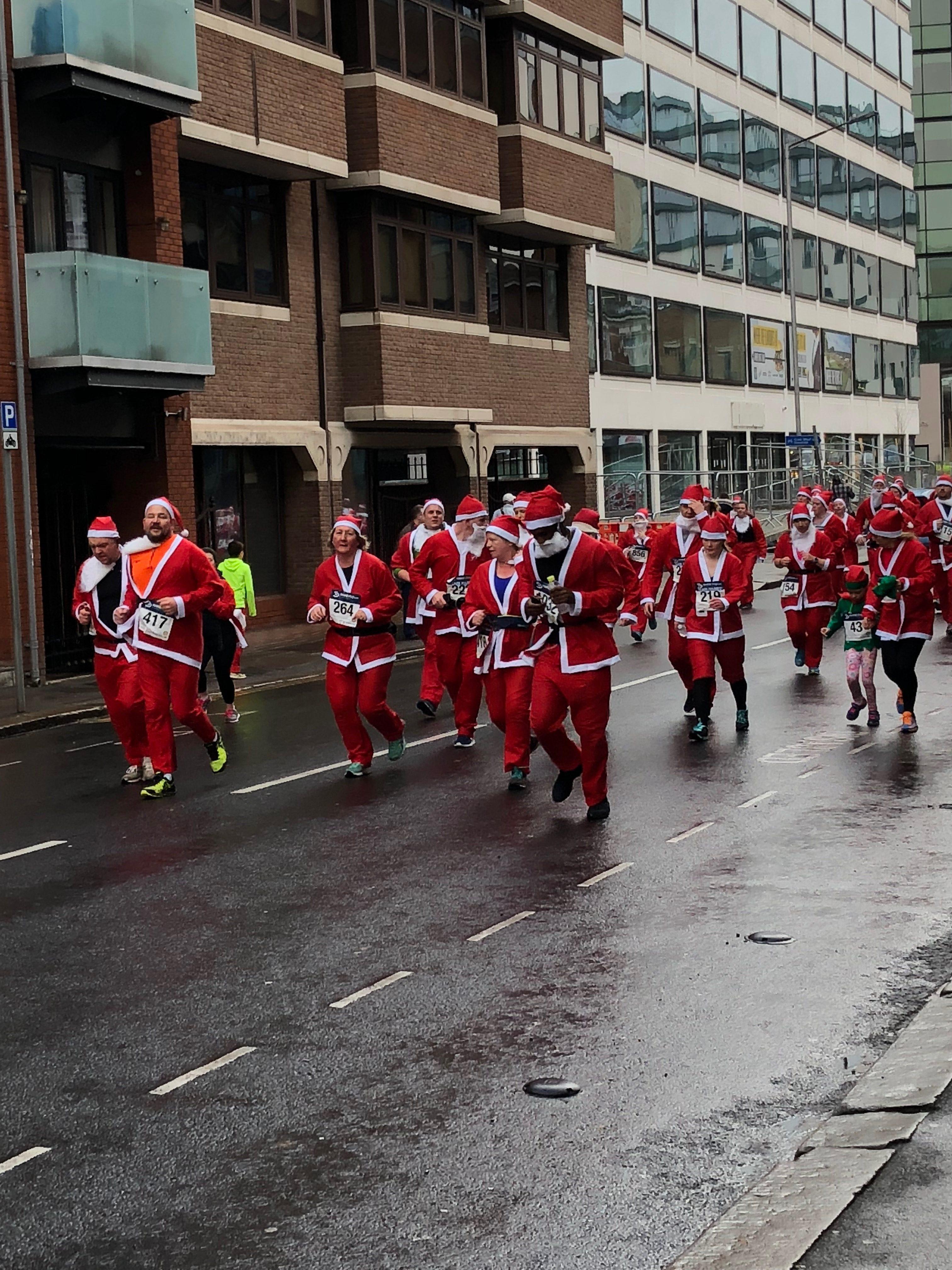 Dan running the santa run for No5