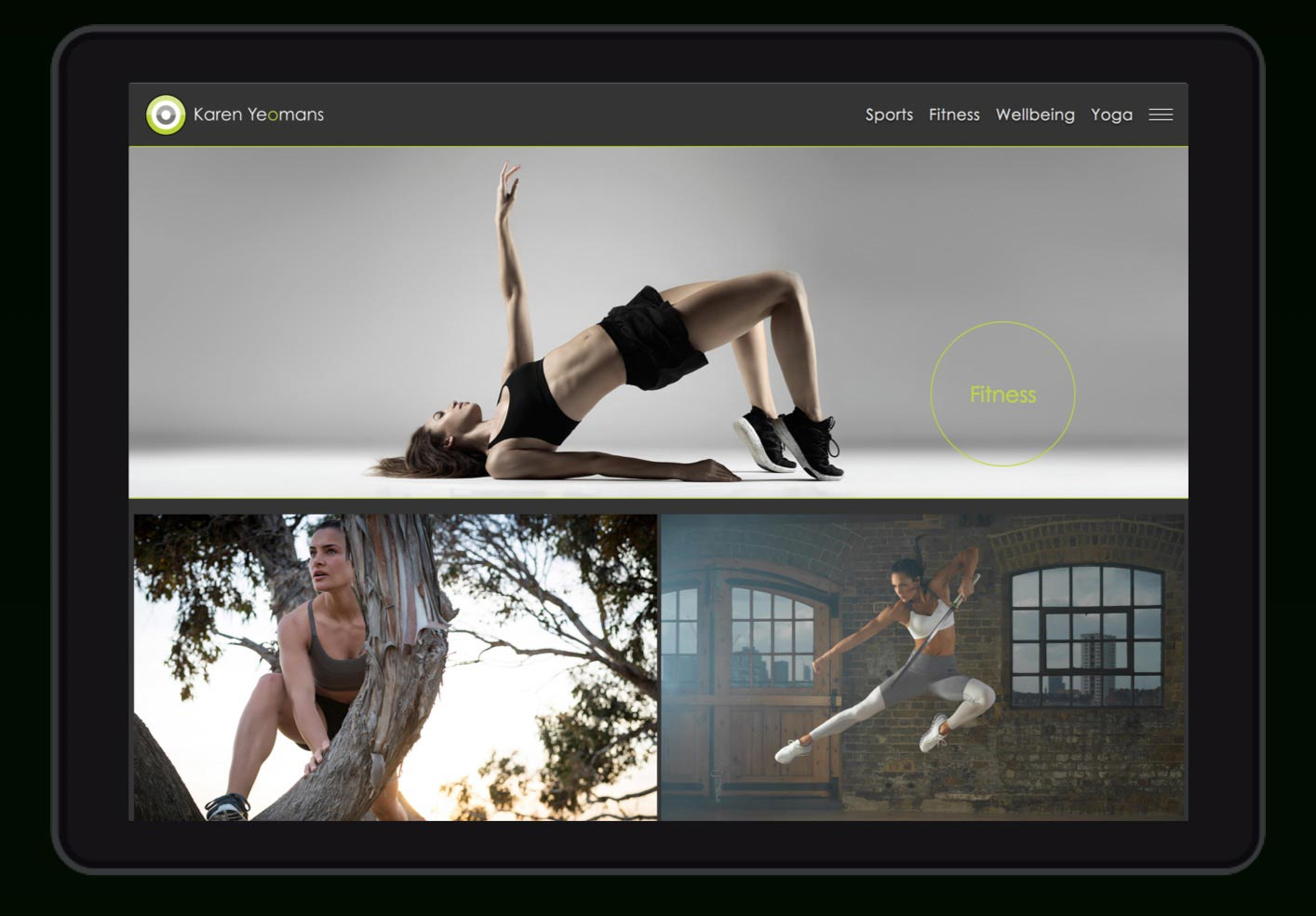 Showcasing Karen Yeomans wellbeing photography on her photography website