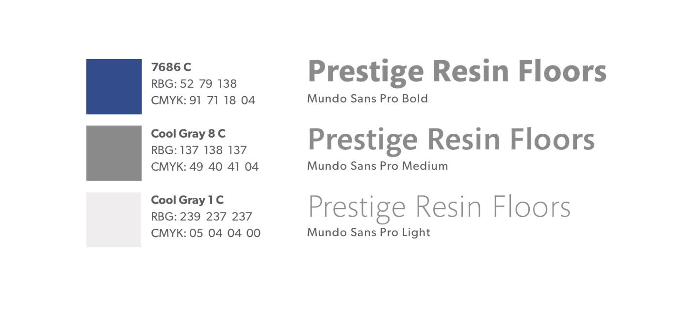 Prestige Resin Flooring design colour palette and typography design